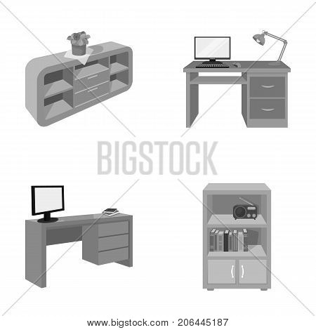 A shelf with a flower, a desk with a computer and a lamp, a table with a monitor and a book, a cabinet with documents and a radio.Furniture and interior set collection icons in monochrome style isometric vector symbol stock illustration .