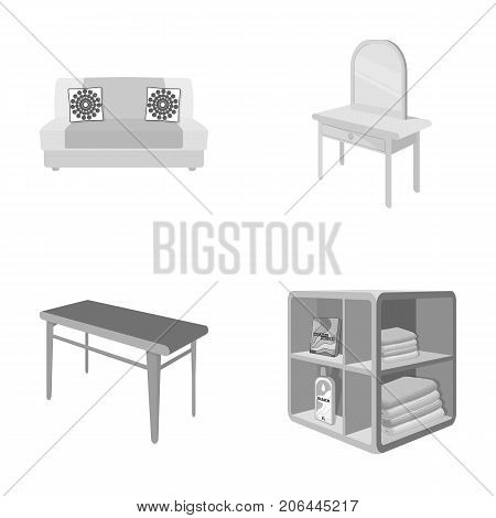 Soft sofa, toilet make-up table, dining table, shelving for laundry and detergent. Furniture and interior set collection icons in monochrome style isometric vector symbol stock illustration .