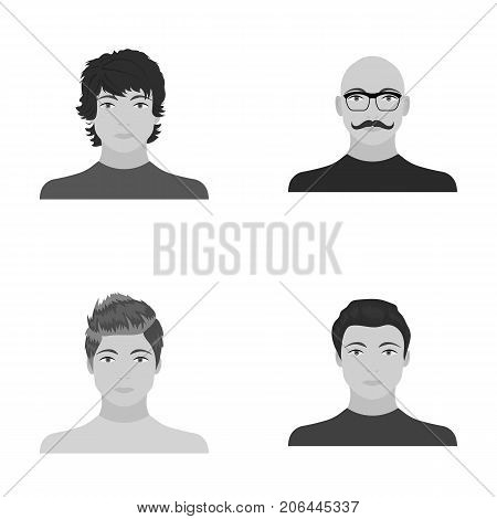 The appearance of the young guy, the face of a bald man with a mustache in his glasses. Face and appearance set collection icons in monochrome style vector symbol stock illustration .