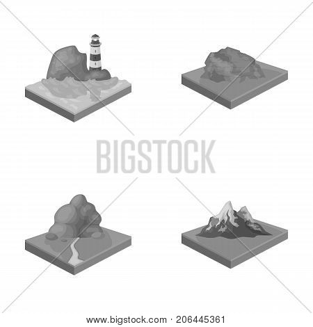 Mountains, rocks and landscape. Relief and mountains set collection icons in monochrome style isometric vector symbol stock illustration .