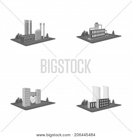 Processing factory, metallurgical plant. Factory and industry set collection icons in monochrome style isometric vector symbol stock illustration .