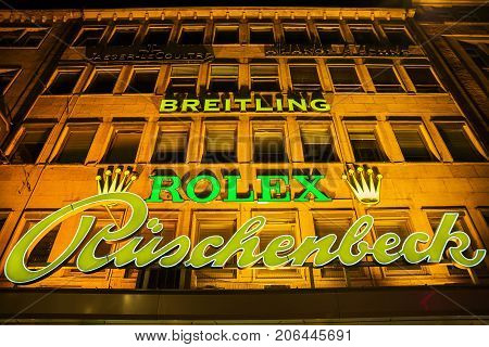 Facade Of A Jewelry Store In Dortmund, Germany, At Night