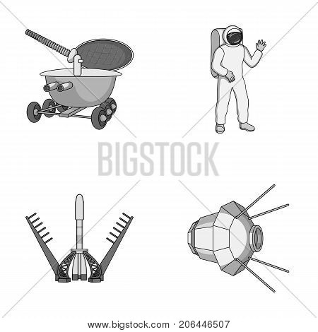 Lunokhod, space suit, rocket launch, artificial Earth satellite. Space technology set collection icons in monochrome style vector symbol stock illustration .