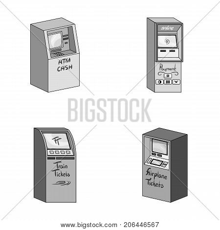 Cash machine for cash, terminal for payment, ticket machine. Terminals set collection icons in monochrome style isometric vector symbol stock illustration .