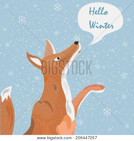 Orange Fox Catching Snowflakes and saying