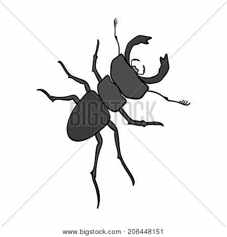 Beetle, arthropodous insect. A beetle with claws single icon in monochrome style vector symbol stock isometric illustration .