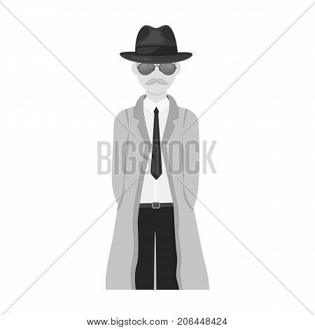 Appearance of the detective. Man detective in a hat and raincoat single icon in monochrome style vector symbol stock illustration .