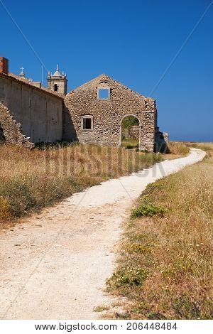 Path Near 15Th Century Our Lady Of The Cape Or Nossa Senhora Do Cabo Church Near Cape Espichel, Port