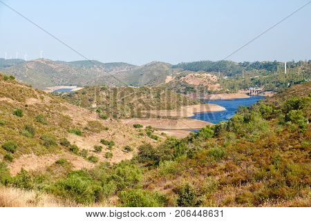 View On Portugal - Spanish Natural Landscape With Chanza Reservoir Between Hills
