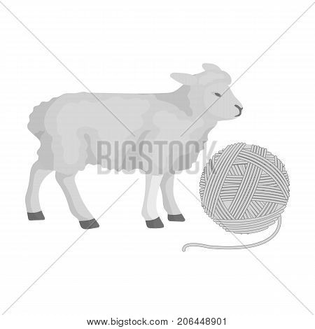 Wool, single icon in monochrome style.Wool vector symbol stock illustration .