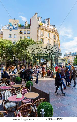Historic Metro Station Chatelet In Paris, France