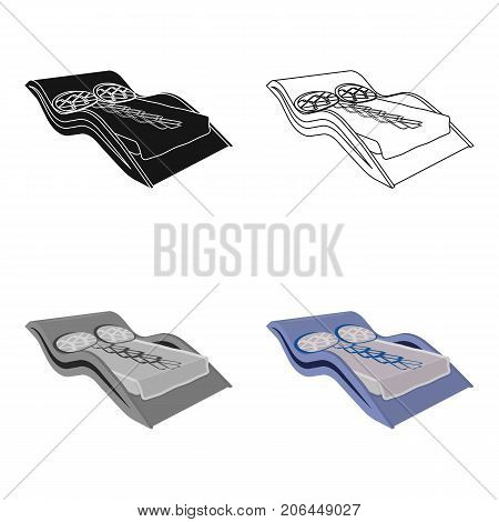 Blue wavy bed.Medical bed for the treatment of the spine.Bed single icon in cartoon style vector symbol stock web illustration.