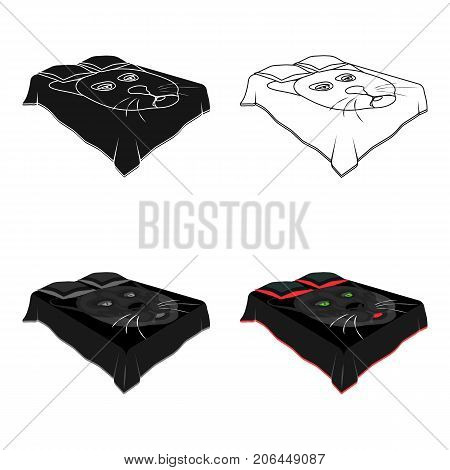 A bed with a black coverlet.Bed with a black cat on the blanket.Bed single icon in cartoon style vector symbol stock web illustration.