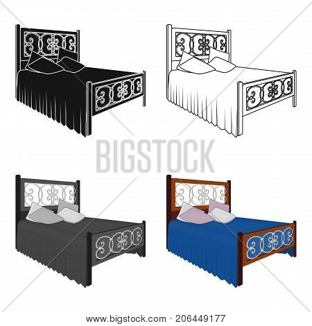 Wooden bed for teenager with graffiti on the back.Bed with blue linens.Bed single icon in cartoon style vector symbol stock web illustration.