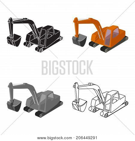 Orange excavator with a bucket . Machine for mine.Mine Industry single icon in cartoon style vector symbol stock web illustration.