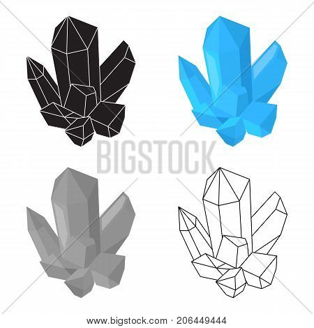 Blue mineral.Crystal, which is a towns produced in the mine.Mine Industry single icon in cartoon style vector symbol stock web illustration.