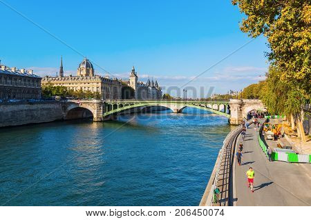 View Over The Seine In Paris, France
