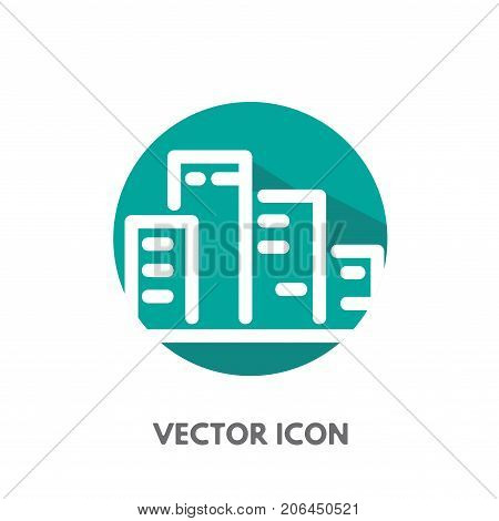 Vector doodle city icon. Stock round symbol for design.