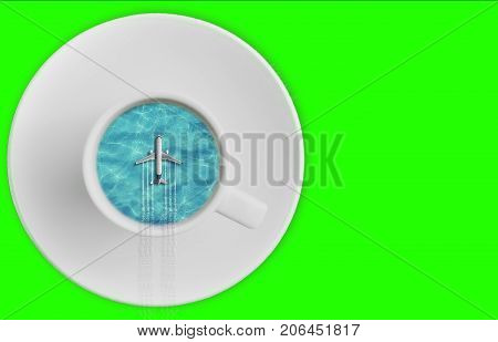 3D rendering blue caribbean sea ocean on sunny day into coffee cup and tourism airplane fly on it on chroma key green screen abstract travel concept of time of holiday vacations with space for text