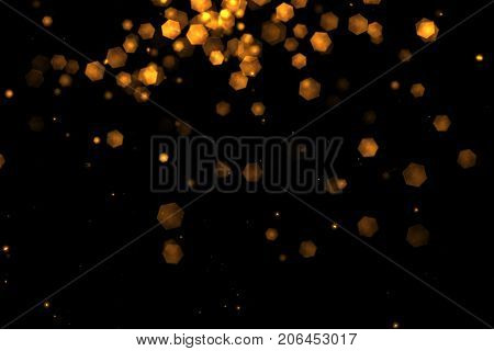 christmas golden light shine particles bokeh loopable from top on black background holiday congratulation greeting party happy new year christmas celebration concept