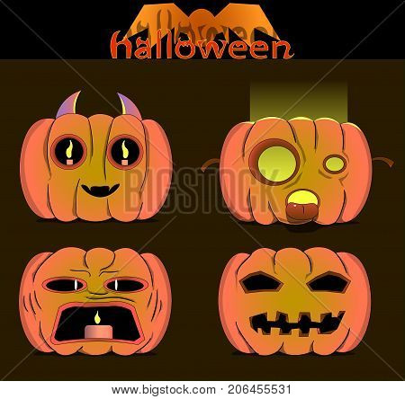 Picture of four pumpkins with faces carved into them. There is also the inscription