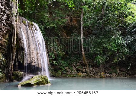 Scenic view of waterfall in the rainforest (cliff of waterfall),erawan waterfall national park,kanchanaburi,thailand.