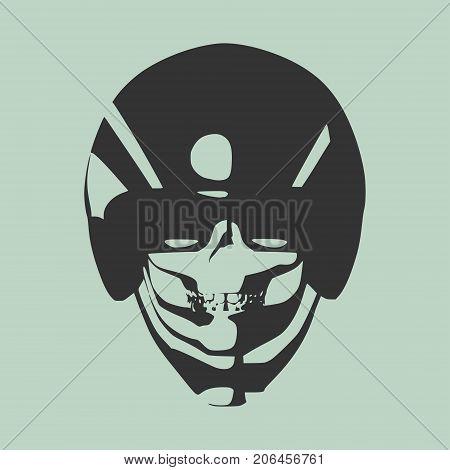 Anatomic skull. Detailed illustration of human skull in bike helmet