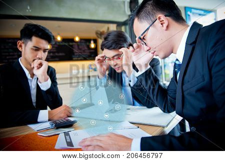 Businessman are pressured to work and unsuccessful
