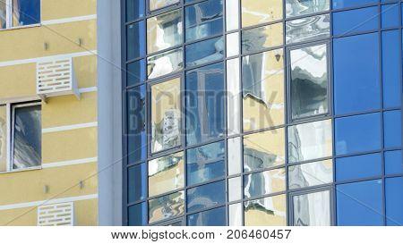 Facade of a new modern highrise building closeup of a window and facade
