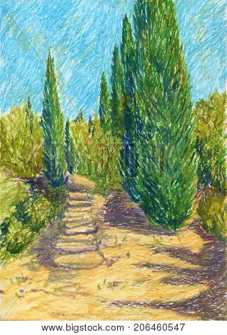 landscape with road and cypress trees a bright sunny summer day drawing by oil pastel