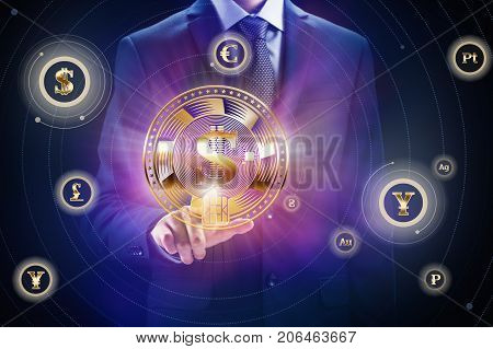 Cryptocurrency block chain business mining concept design. Businessman with coin in hand as bit finance of e-commerce or e-banking.