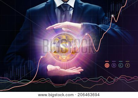 Exchange crypto currency concepts sales and purchase growth rate bit E-commerce coin trade business chart money investment