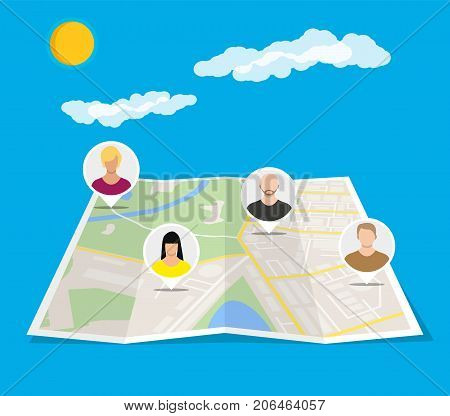 Paper city map with people avatars. Social netwroking. Male and female faces avatars. Discussion group, people talking. Communication, chat, assistance. Vector illustration in flat style