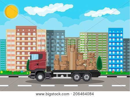Red delivery truck transporting brown cardboard package. Pile cardboard boxes. Carton delivery packaging open and closed box with fragile signs. Cityscape. Vector illustration in flat style