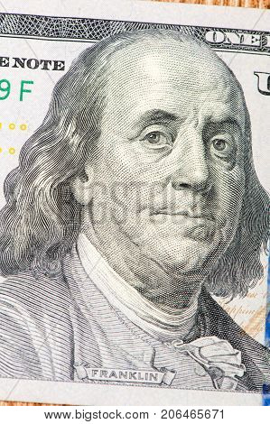 Benjamin Franklin, portrait, 100 dollar bill close-up