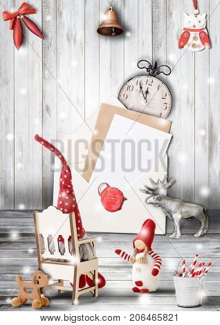Merry Christmas Greeting Card with Xmas and New Year Characters on Light Wooden Background with Snow. Retro Style.
