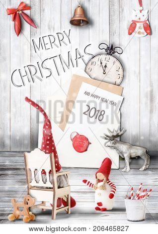 Merry Christmas Greeting Card with Xmas and New Year Characters on Light Wooden Background with Christmas Text. Retro Style.