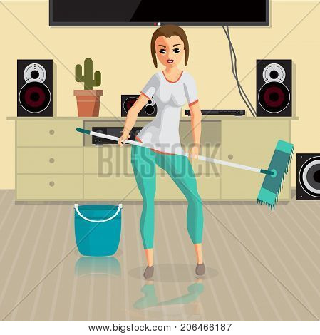 Young woman housewife washes a floor mop in the room. Girl doing domestic work. Flat cartoon vector illustration