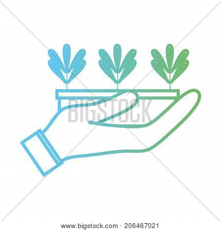 line ecological plant with leaves inside flowerpot in the hand vector illustration