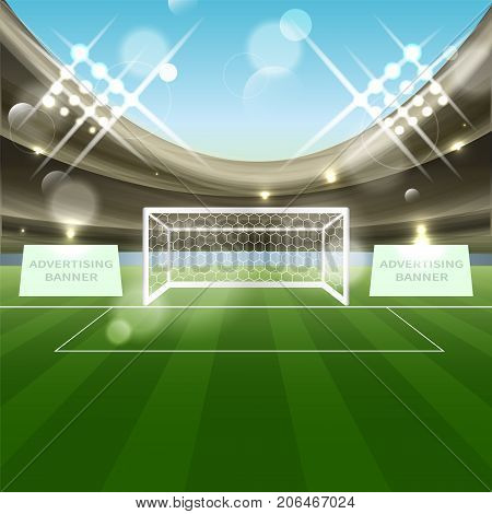 Football stadium with soccer goal net grass and advertising banner. Tribune spotlights and blue sky. Vector illustration.