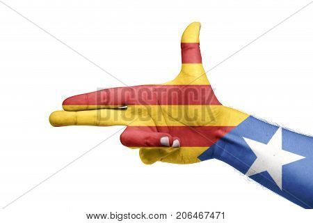 Catalan Flag Painted In The Hand With Pistol Shape. Referendum