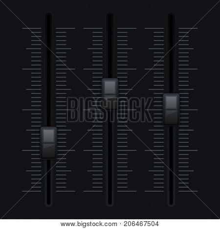 Black vertical slider bar. Vector 3d illustration