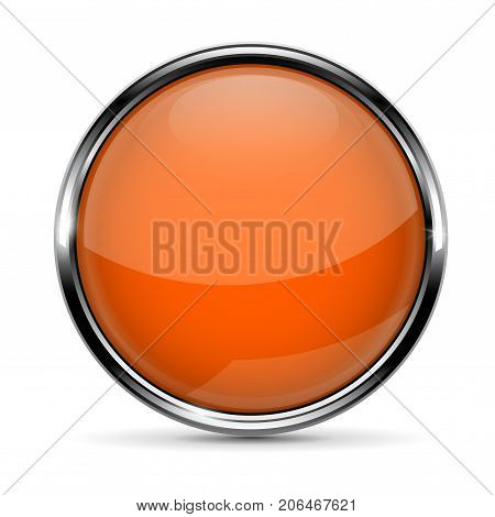 Orange round glass button with chrome frame. Vector 3d illustration isolated on white background
