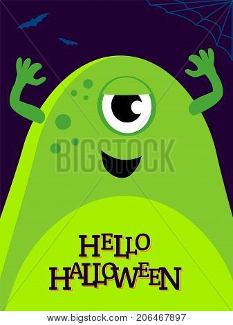 Vector helloween illustration with funny green monster. Cute alien on banner