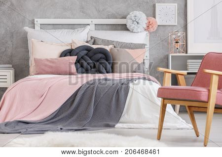 Bed With Soft Color Bedsheets
