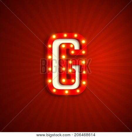 Retro style letter G with electric bulbs. Realistic 3d light sign, red background. Vector illustration.