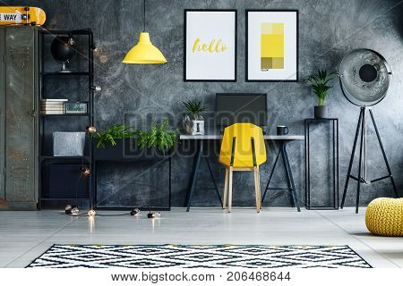 Contemporary Workspace With Posters