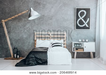 Oversize Lamp Next To Bed