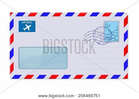 International mail envelope with address window and stamp. Vector 3d illustration isolated on white background