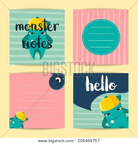 Vector square note cards with cute cartoon monsters on stripes background. Set of color card illustration